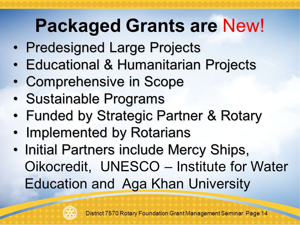 Packaged Grants are New!