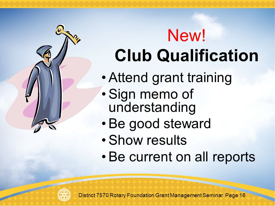 New! Club Qualification Attend grant training