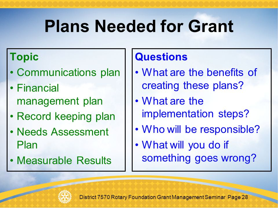 Plans Needed for Grant Topic Communications plan
