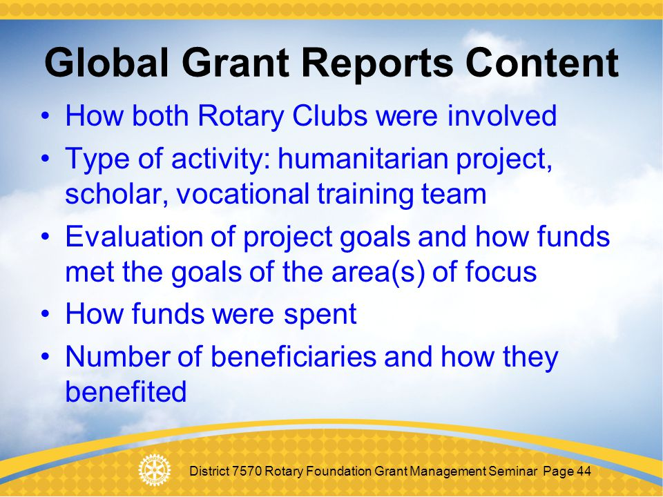 Global Grant Reports Content