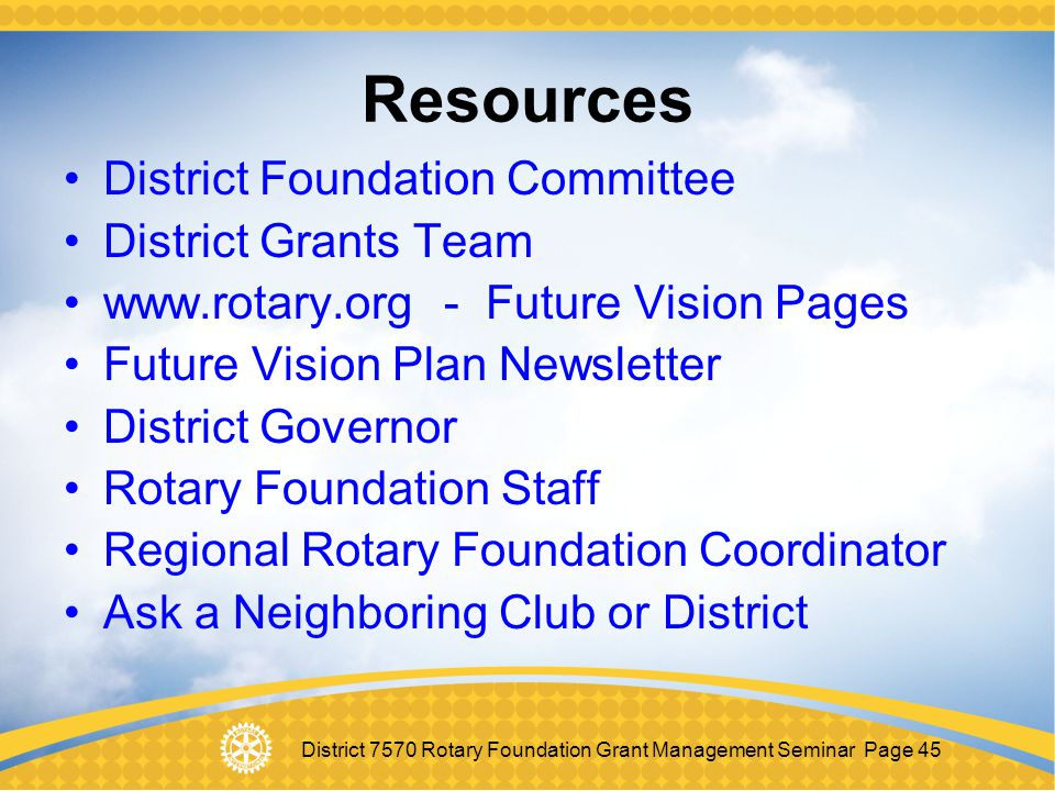 Resources District Foundation Committee District Grants Team