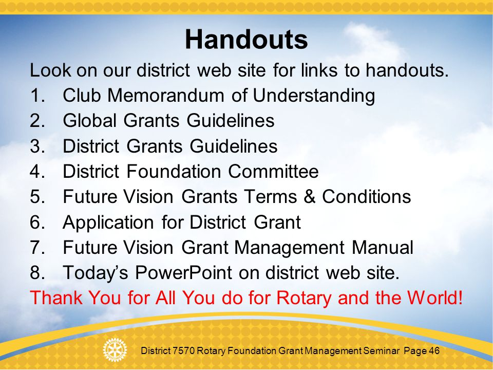 Handouts Look on our district web site for links to handouts.