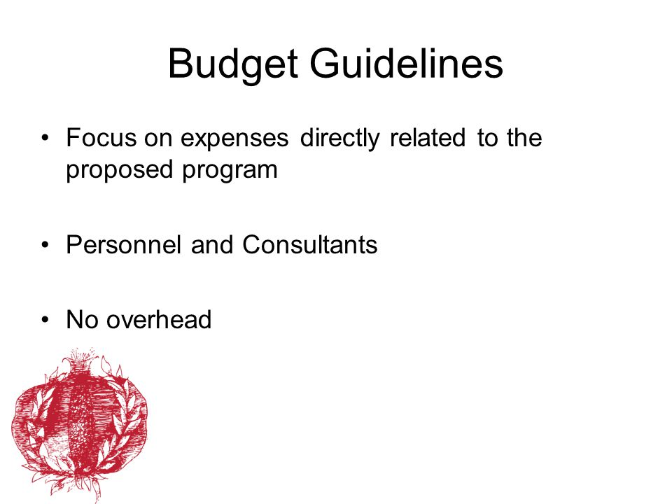 Budget Guidelines Focus on expenses directly related to the proposed program. Personnel and Consultants.