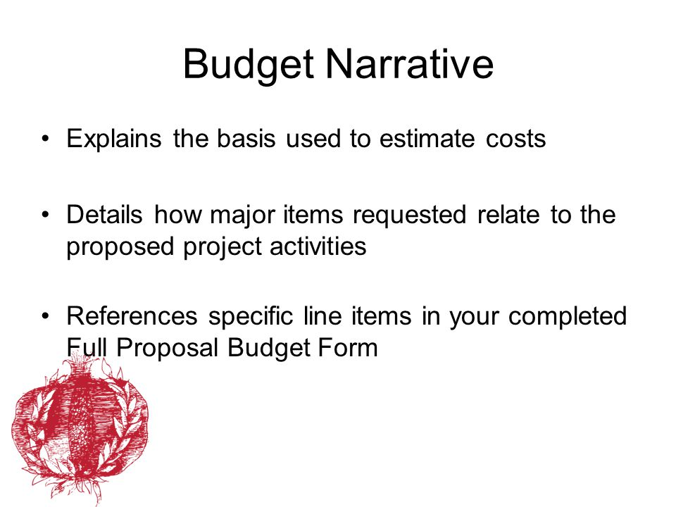 Budget Narrative Explains the basis used to estimate costs