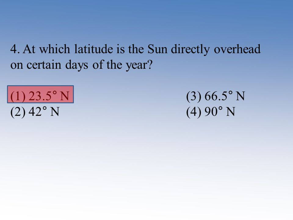 4. At which latitude is the Sun directly overhead on certain days of the year