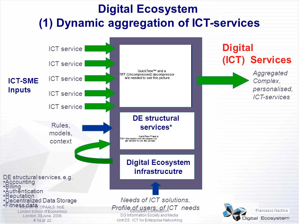 Digital Ecosystem (1) Dynamic aggregation of ICT-services
