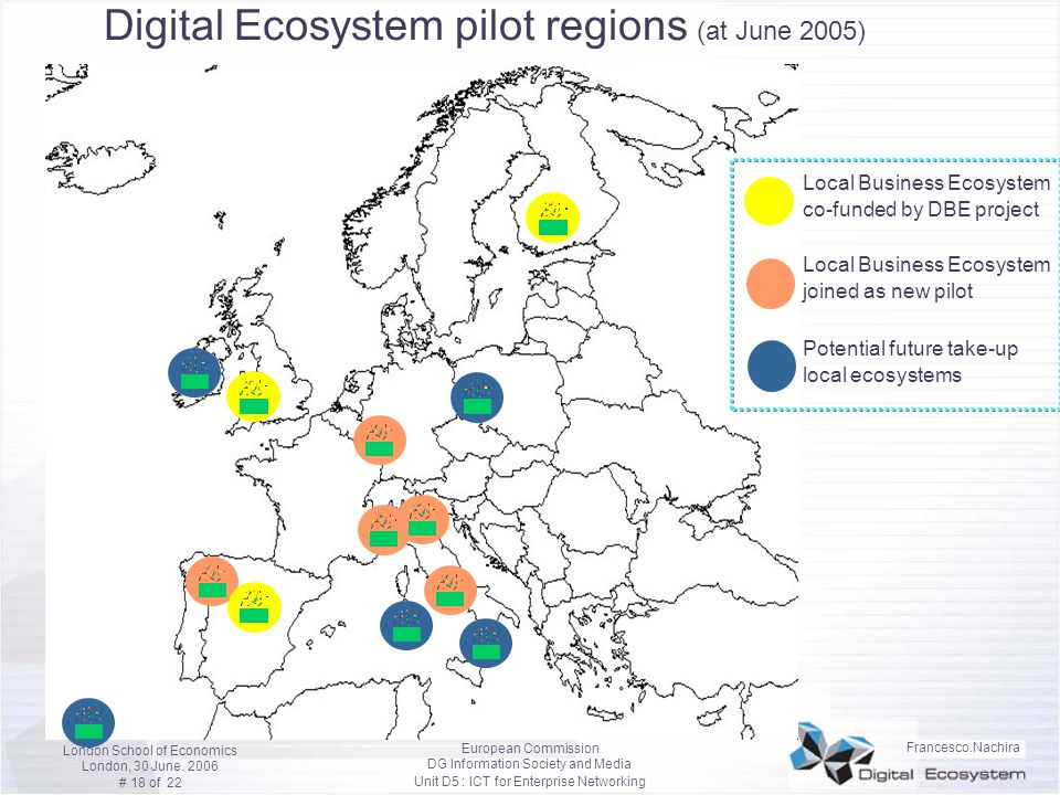 Digital Ecosystem pilot regions (at June 2005)