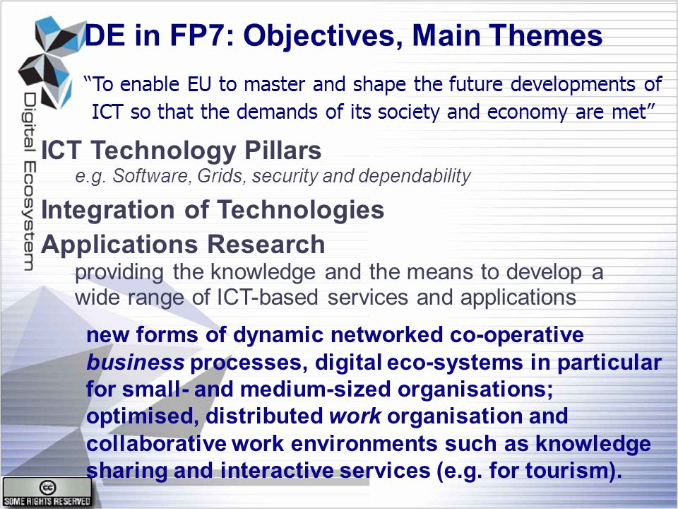 DE in FP7: Objectives, Main Themes