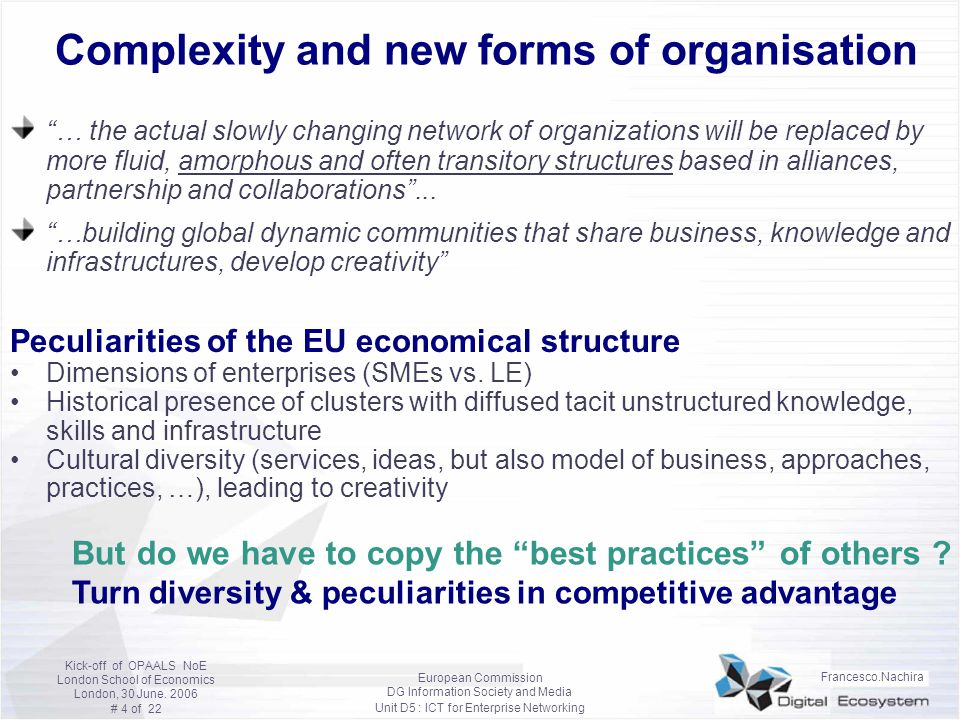 Complexity and new forms of organisation