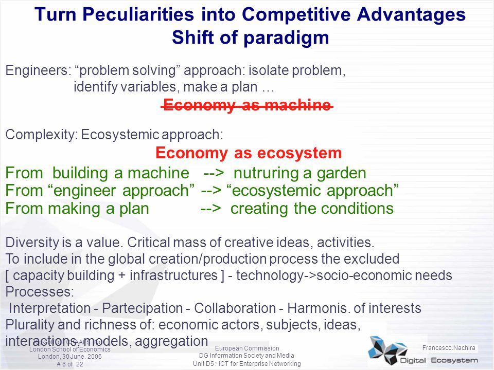 Turn Peculiarities into Competitive Advantages Shift of paradigm