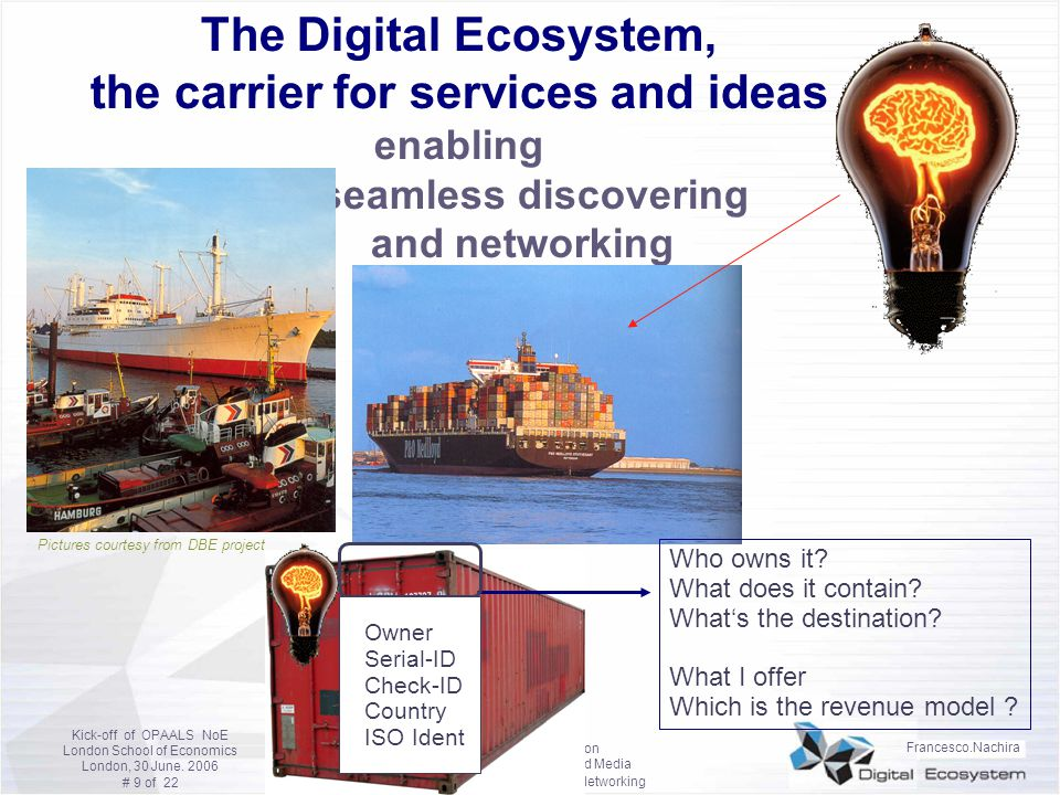 The Digital Ecosystem, the carrier for services and ideas enabling