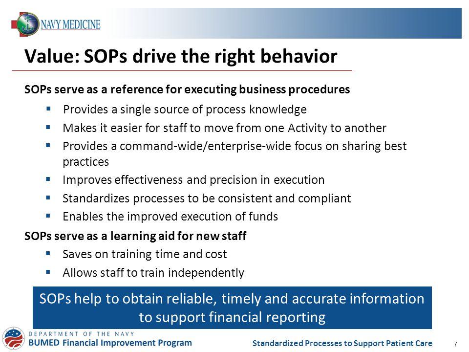 Value: SOPs drive the right behavior