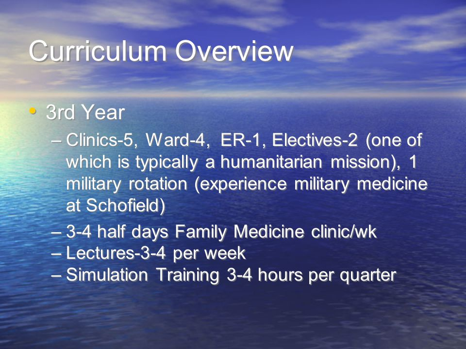 Curriculum Overview 3rd Year