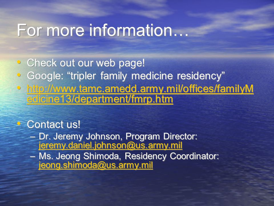 For more information… Check out our web page!