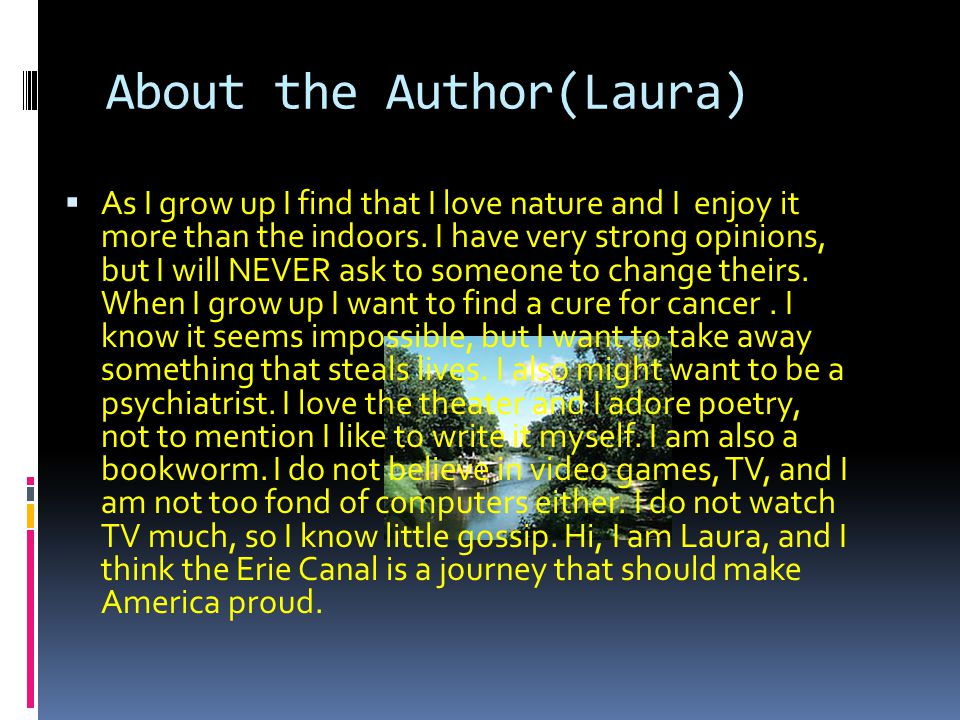 About the Author(Laura)
