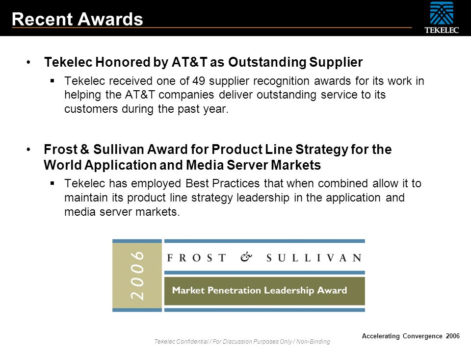 Recent Awards Tekelec Honored by AT&T as Outstanding Supplier