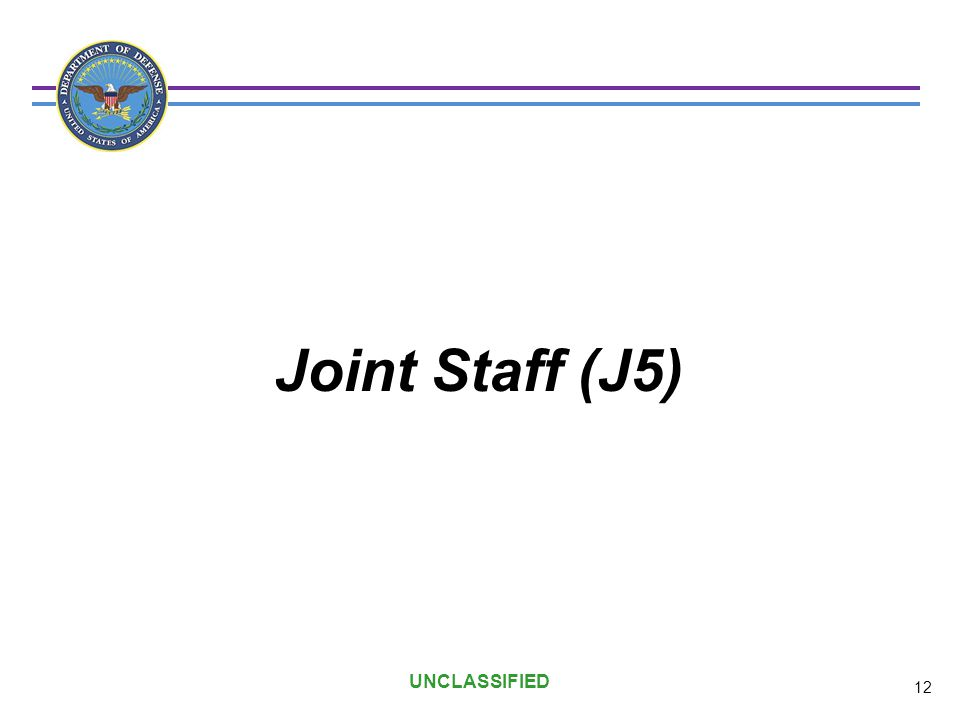 Joint Staff (J5) UNCLASSIFIED 12