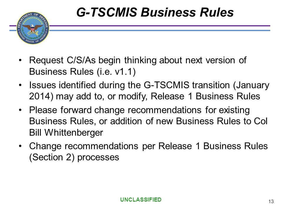 G-TSCMIS Business Rules