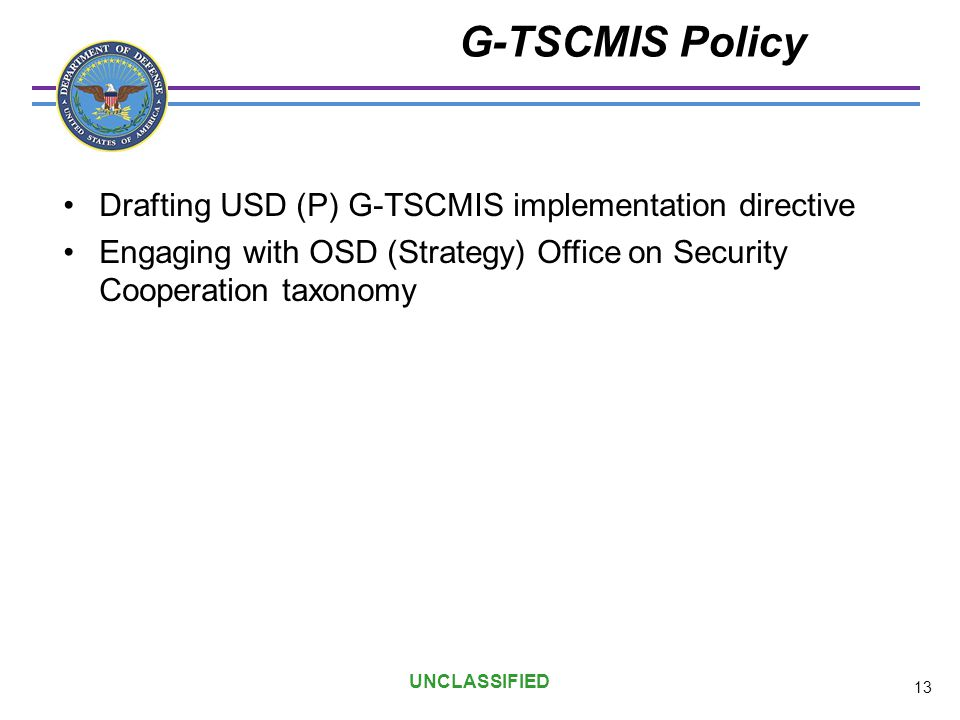 G-TSCMIS Policy Drafting USD (P) G-TSCMIS implementation directive