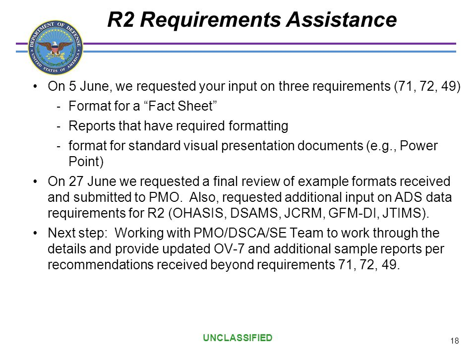 R2 Requirements Assistance