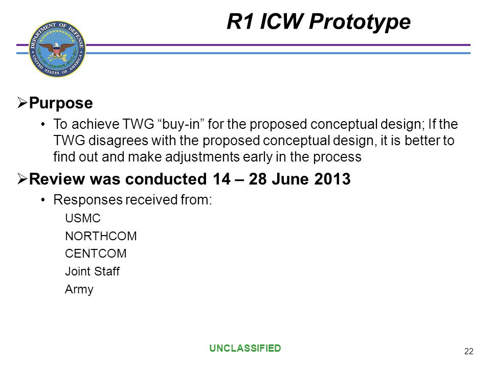 R1 ICW Prototype Purpose Review was conducted 14 – 28 June 2013
