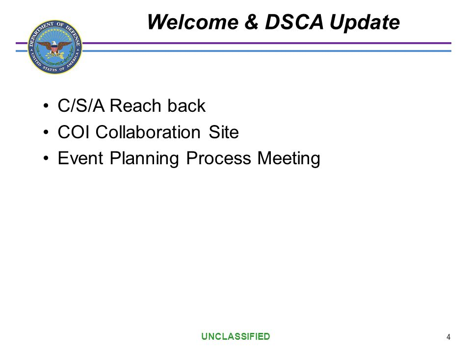 Welcome & DSCA Update C/S/A Reach back COI Collaboration Site