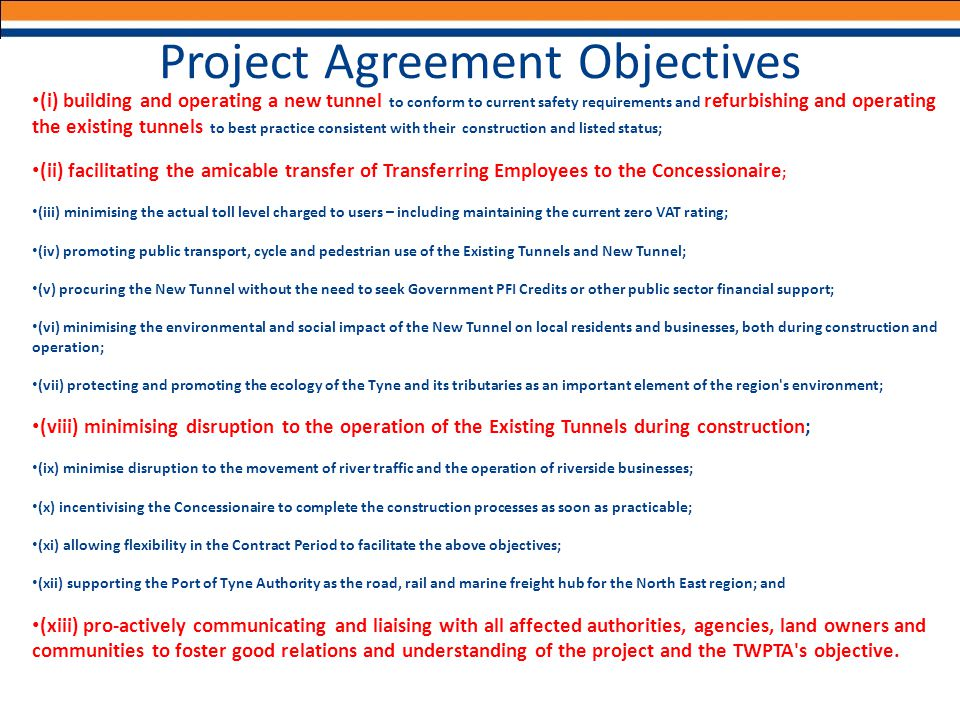 Project Agreement Objectives