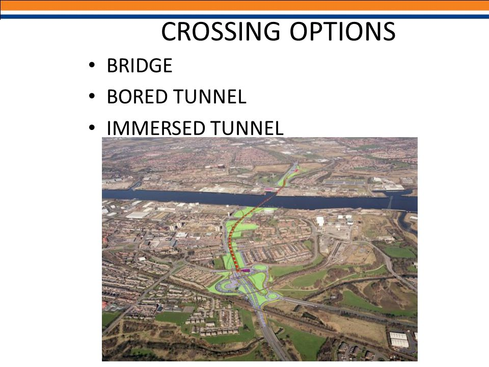 CROSSING OPTIONS BRIDGE BORED TUNNEL IMMERSED TUNNEL