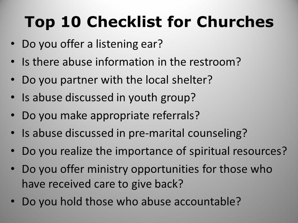 Top 10 Checklist for Churches