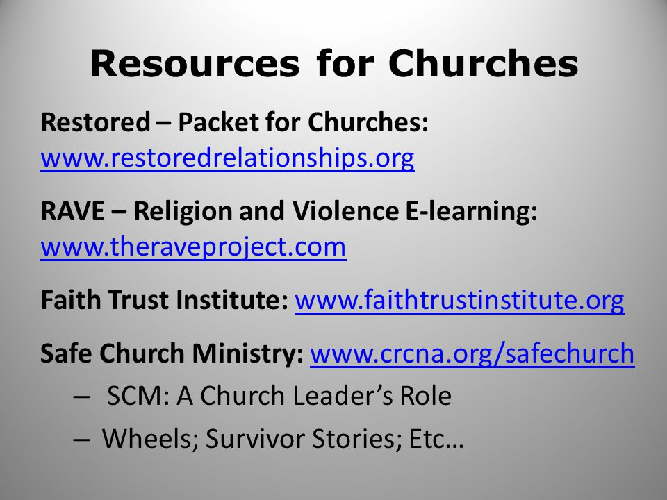 Resources for Churches