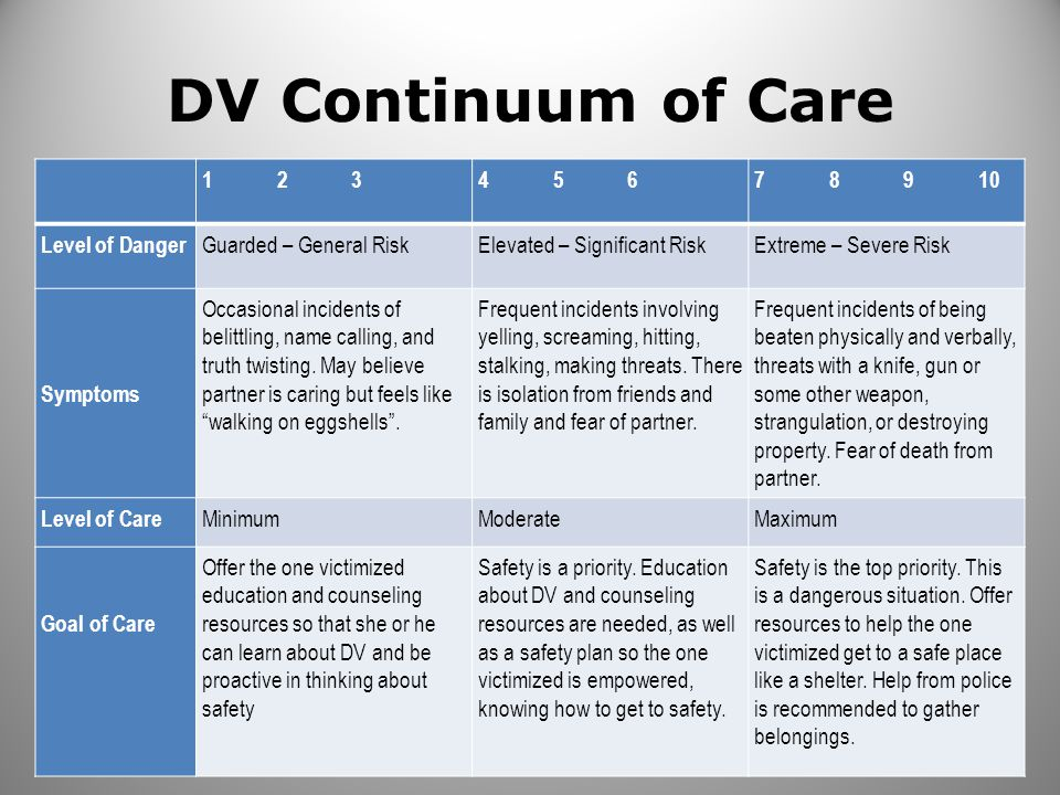 DV Continuum of Care 1 2 3 4 5 6 7 8 9 10 Level of Danger