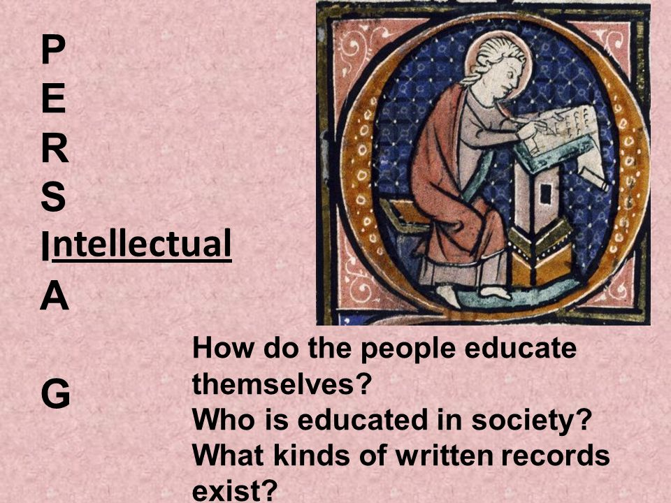 P E. R. S. I. A. G. ntellectual. How do the people educate themselves Who is educated in society