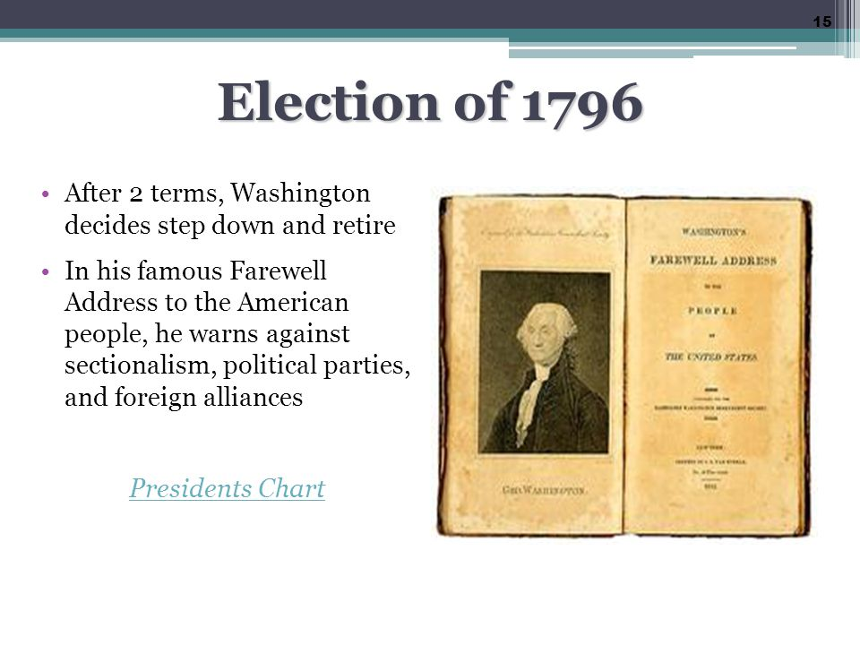 Election of 1796 After 2 terms, Washington decides step down and retire.
