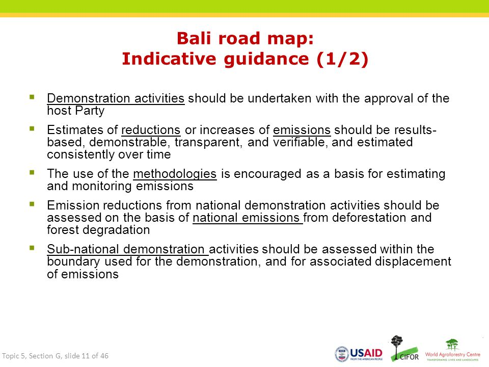 Bali road map: Indicative guidance (1/2)