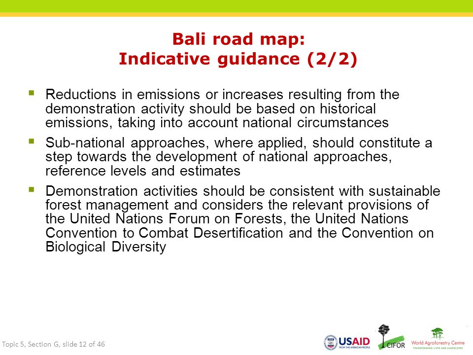 Bali road map: Indicative guidance (2/2)