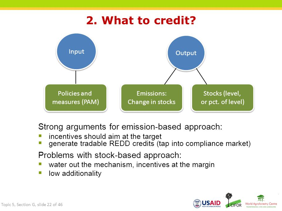 2. What to credit Strong arguments for emission-based approach: