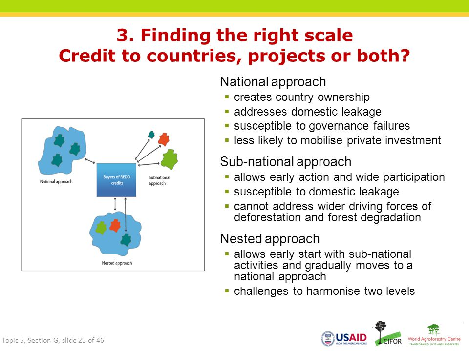 3. Finding the right scale Credit to countries, projects or both