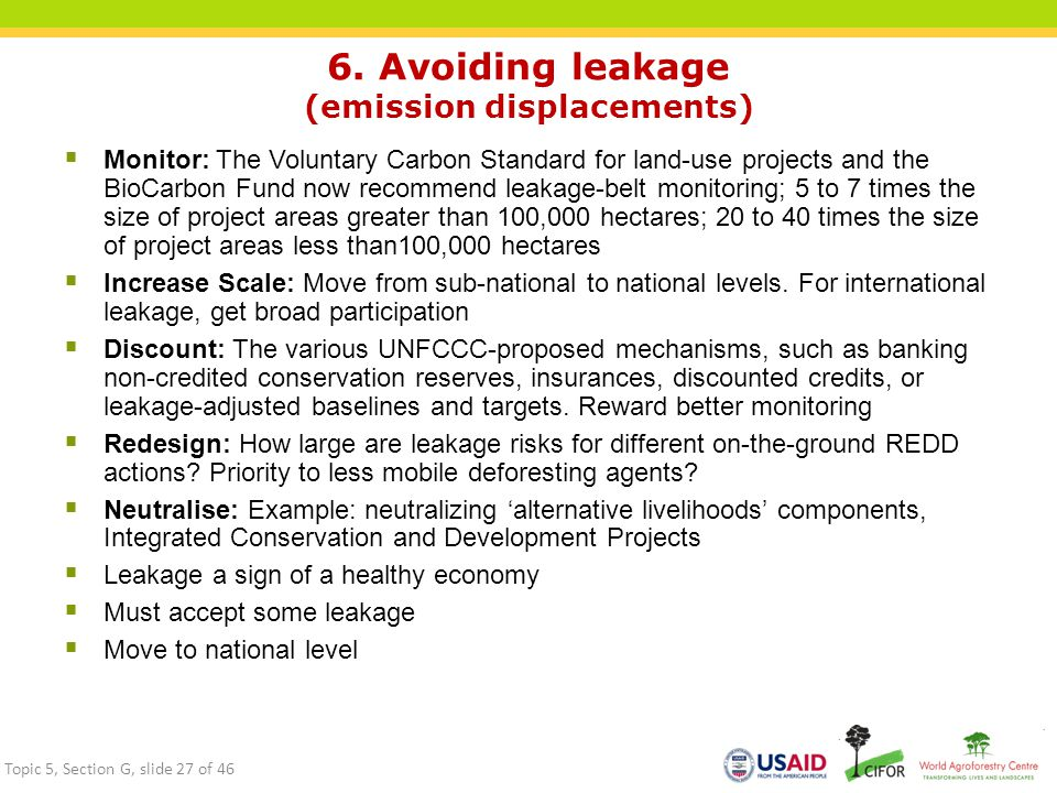 6. Avoiding leakage (emission displacements)