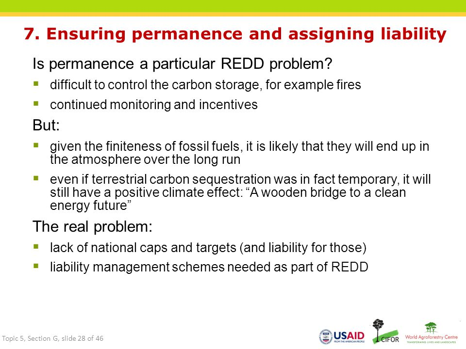 7. Ensuring permanence and assigning liability