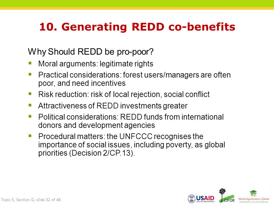 10. Generating REDD co-benefits