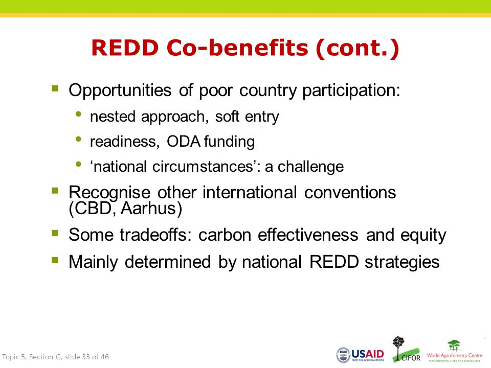 REDD Co-benefits (cont.)