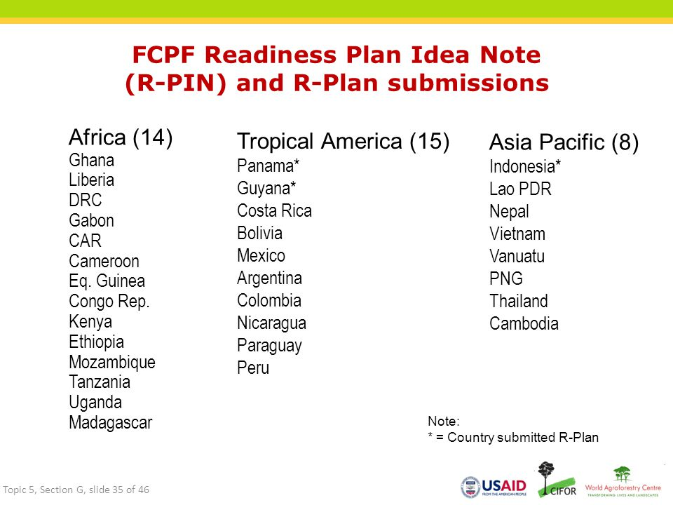FCPF Readiness Plan Idea Note (R-PIN) and R-Plan submissions