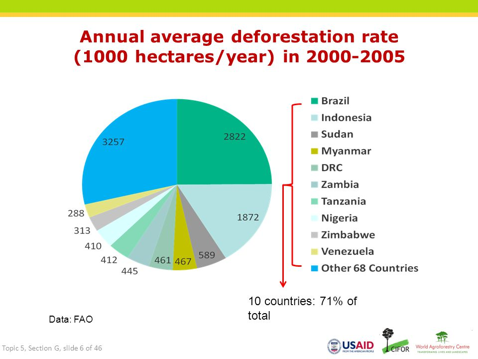 Annual average deforestation rate (1000 hectares/year) in 2000-2005