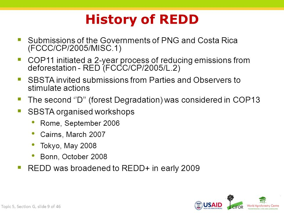 History of REDD Submissions of the Governments of PNG and Costa Rica (FCCC/CP/2005/MISC.1)