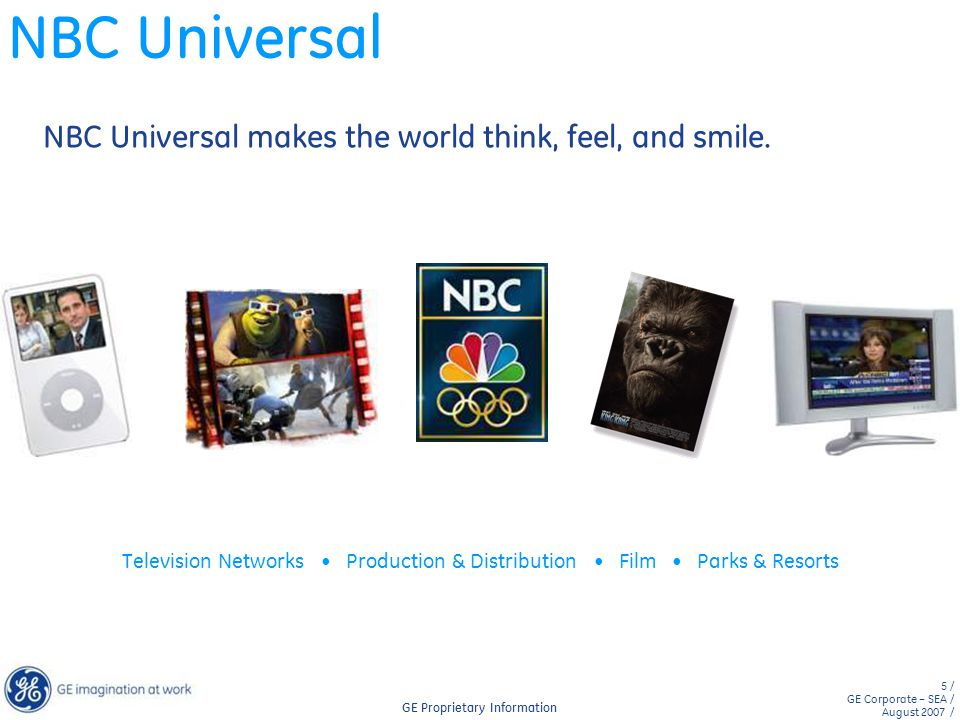 NBC Universal NBC Universal makes the world think, feel, and smile.