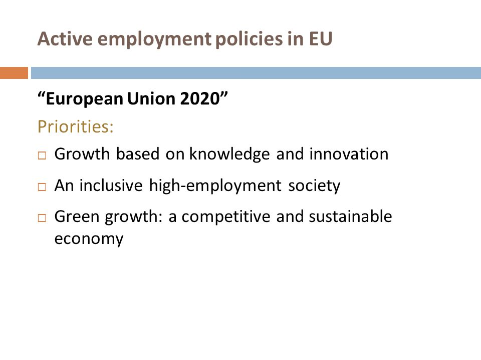 Active employment policies in EU