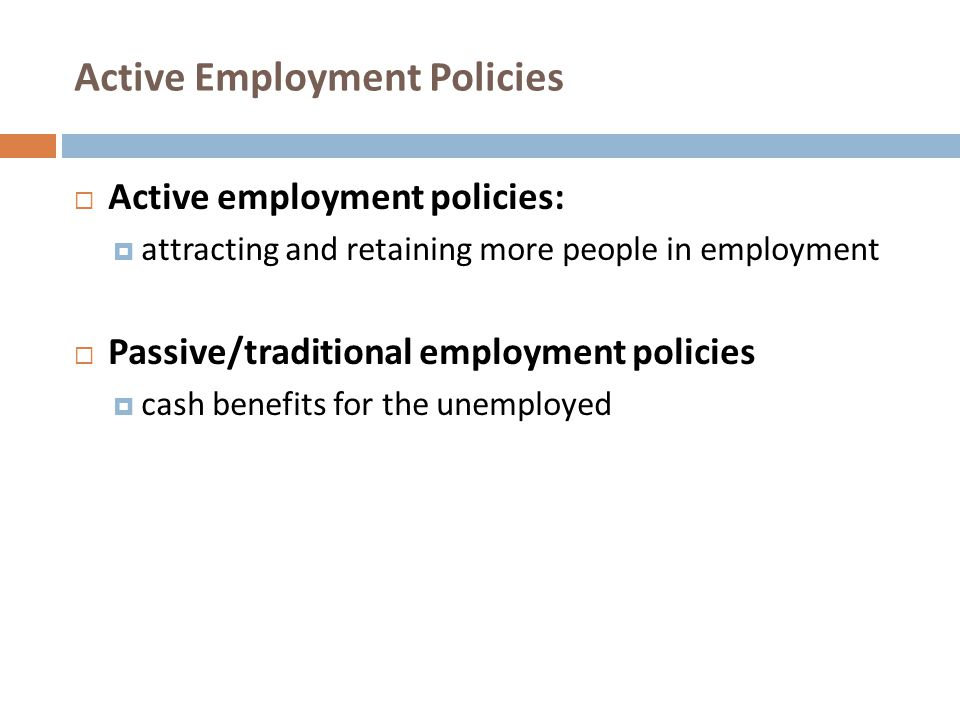 Active Employment Policies
