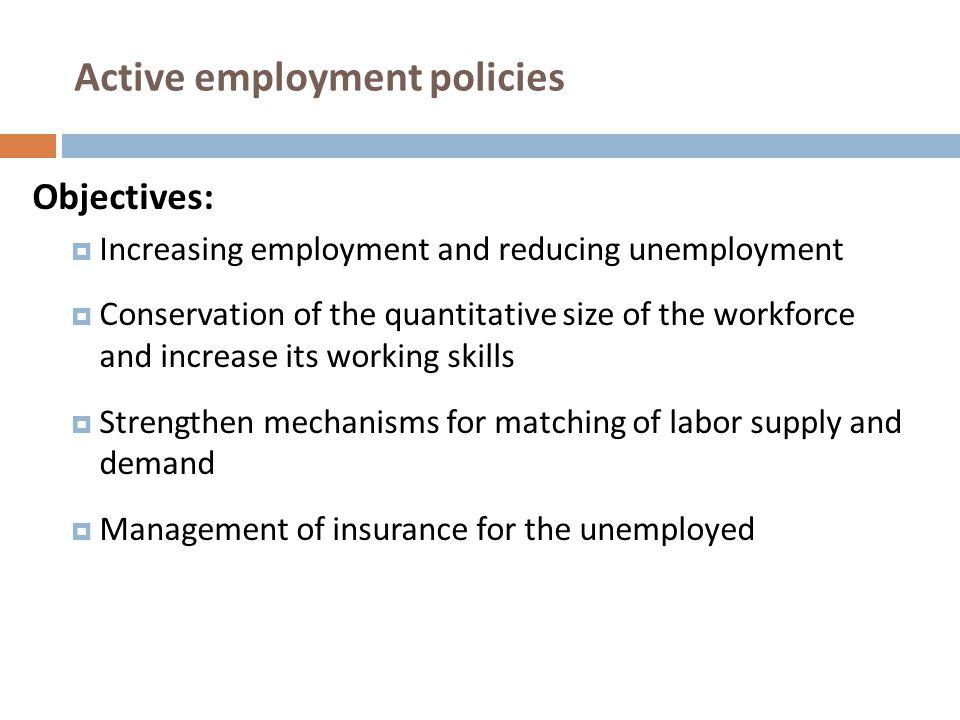 Active employment policies