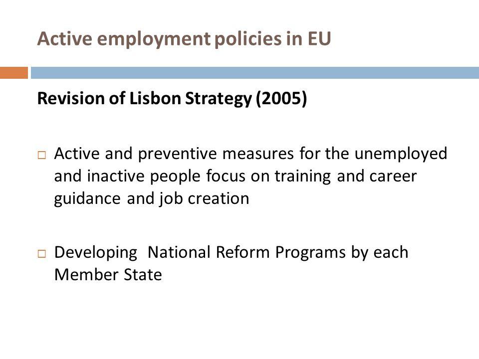 Active employment policies in EU