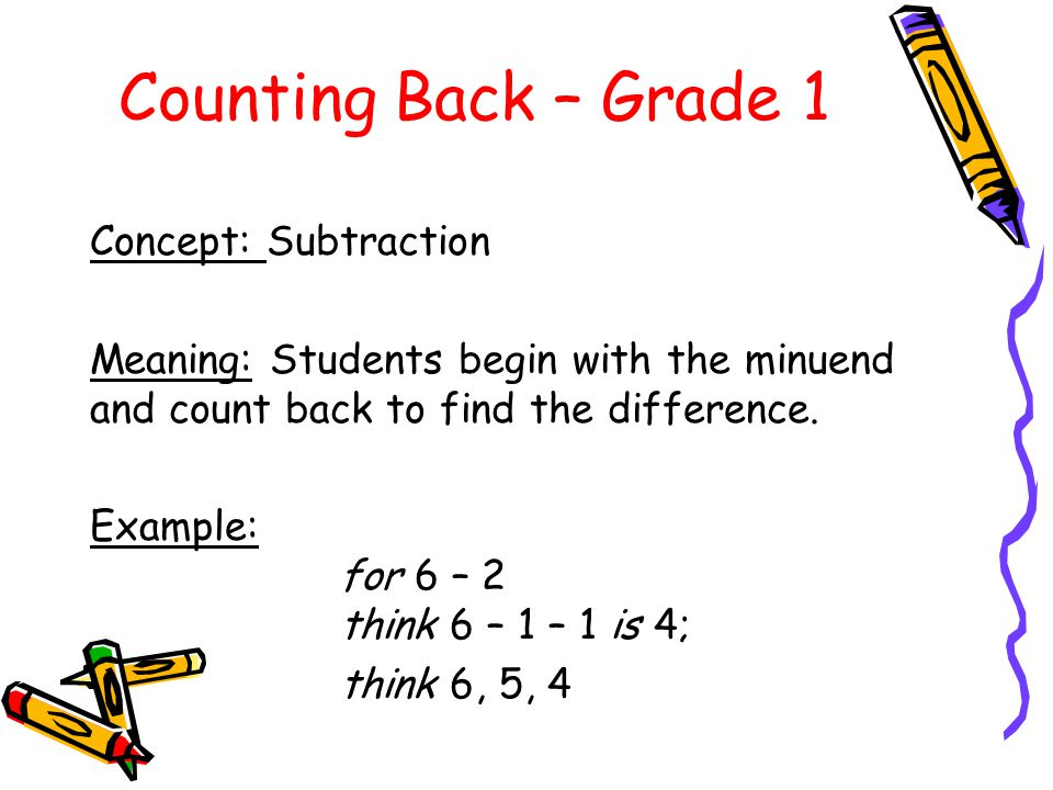 Counting Back – Grade 1